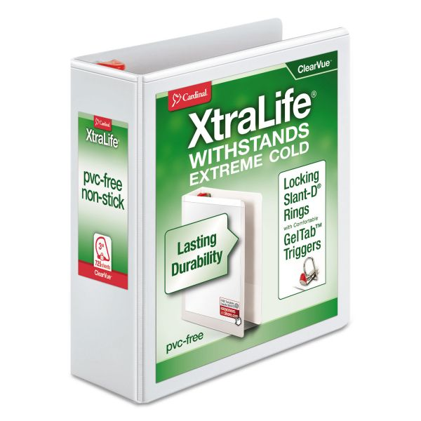 "Cardinal XtraLife ClearVue Non-Stick Locking 3-Ring View Binder, 3"" Capacity, Slant-D Ring, White"