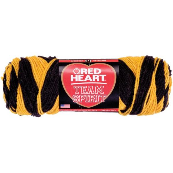 Red Heart Team Spirit Yarn - Gold/Black