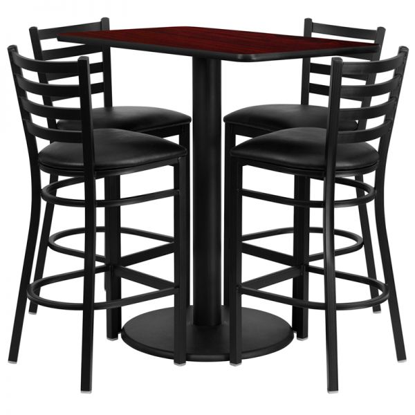 Flash Furniture 24'' x 42'' Rectangular Mahogany Laminate Table Set with 4 Ladder Back Metal Barstools - Black Vinyl Seat