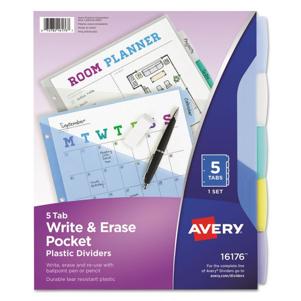 Avery Durable Write-On Dividers With Pockets
