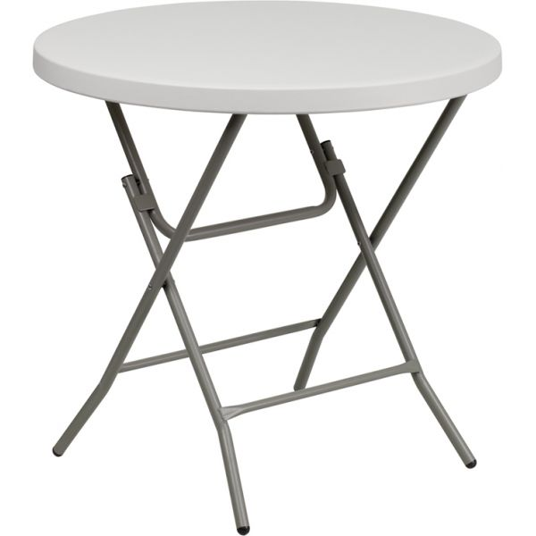 Flash Furniture 32'' Round Granite White Plastic Folding Table [RB-32R-GW-GG]