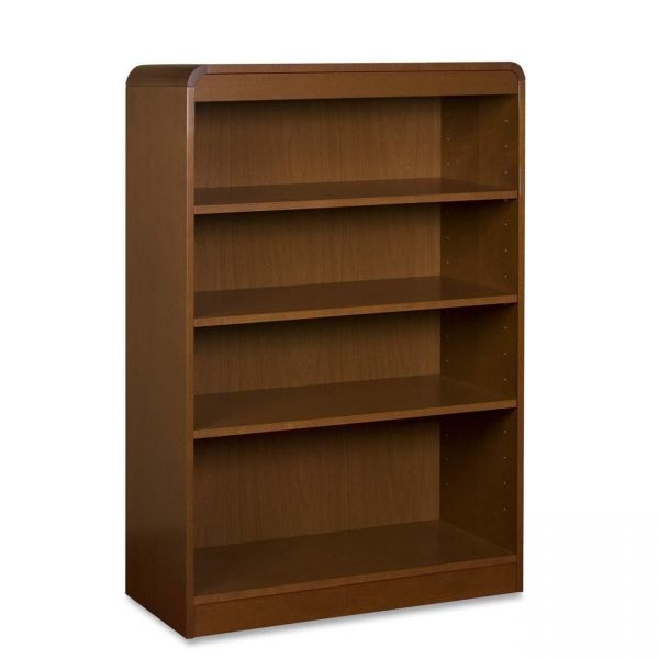 Lorell Radius 4-Shelf Hardwood Veneer Bookcase