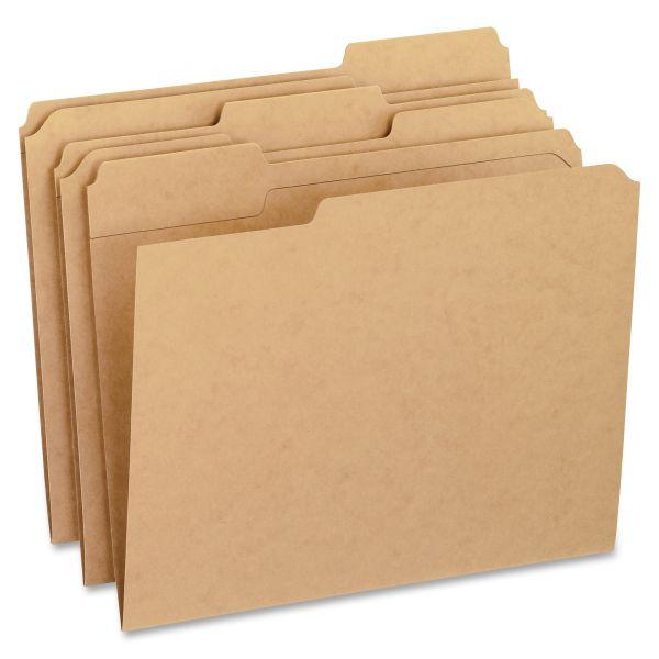 Pendaflex Two-Ply Dark Kraft File Folders, 1/3 Cut Top Tab, Letter, Brown, 100/Box