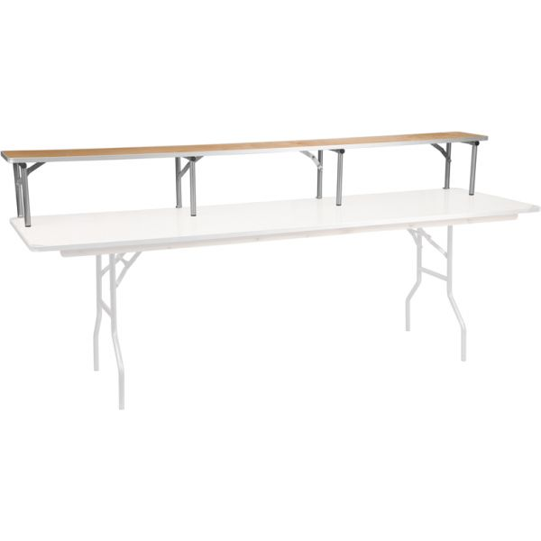 Flash Furniture 96'' x 12'' x 12'' Birchwood Bar Top Riser with Silver Legs