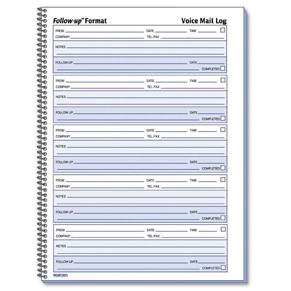 Rediform Follow-Up Voice Mail Log Book
