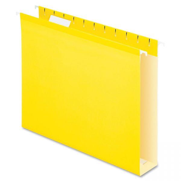 "Pendaflex Reinforced 2"" Extra Capacity Hanging Folders, 1/5 Tab, Letter, Yellow, 25/Box"