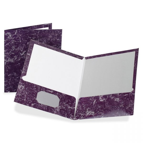 Oxford Marble Design Laminated High-Gloss Twin Pocket Folder, 100-Sheet Capacity, Purple, 25/Box