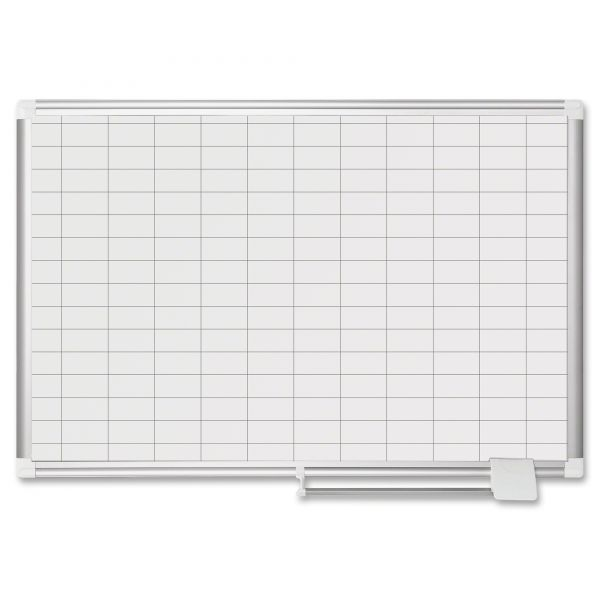 """MasterVision MasterVision Grid Planning Board, 1x2"""" Grid, 24x36, silver"""