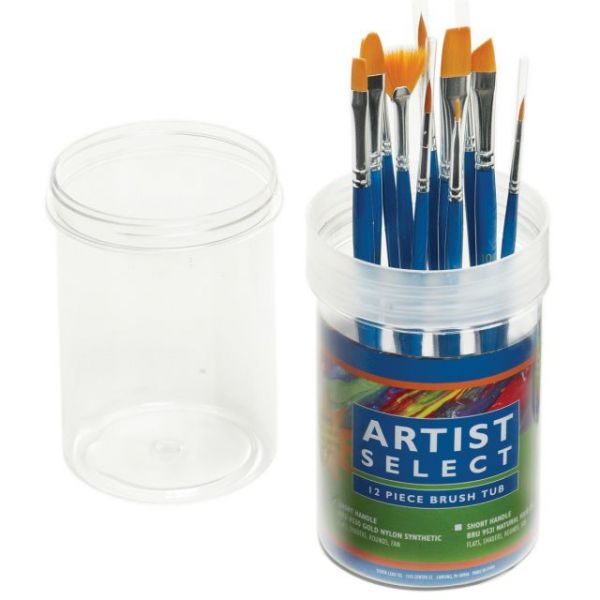Artist Select Short Handle Brush Tub Assortment 12/Pkg