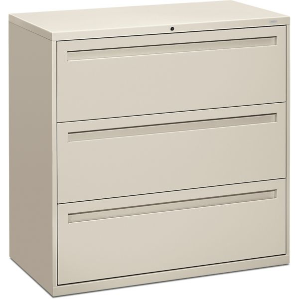 HON 700 Series Three-Drawer Lateral File, Letter/Legal/A4, 42w x 19-1/4d, Light Gray