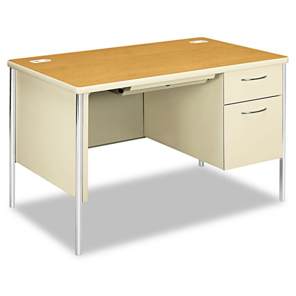 HON Mentor Series Single Pedestal Desk, 48w x 30d x 29-1/2h, Harvest/Putty