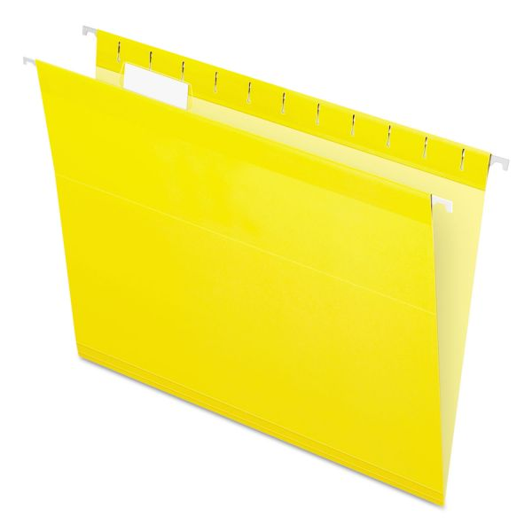 Pendaflex Reinforced Hanging Folders, 1/5 Tab, Letter, Yellow, 25/Box