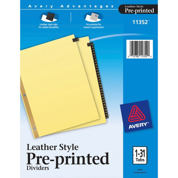 Avery Preprinted Black Leather Tab Dividers w/Gold Reinforced Edge, 31-Tab, Ltr