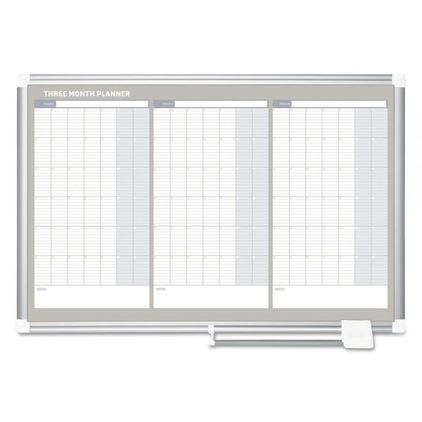 MasterVision Magnetic Dry Erase Calendar Board, 36 x 24, Silver Aluminum Frame