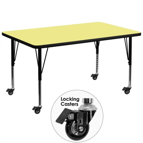 Flash Furniture Mobile Height Adjustable Rectangular Activity Table