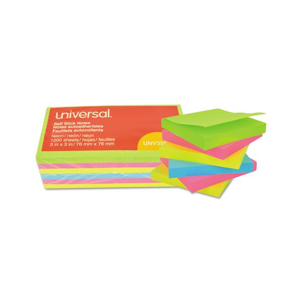 Universal Self-Stick Note Pads, 3 x 3, Assorted Neon Colors, 100-Sheet, 12/Pack
