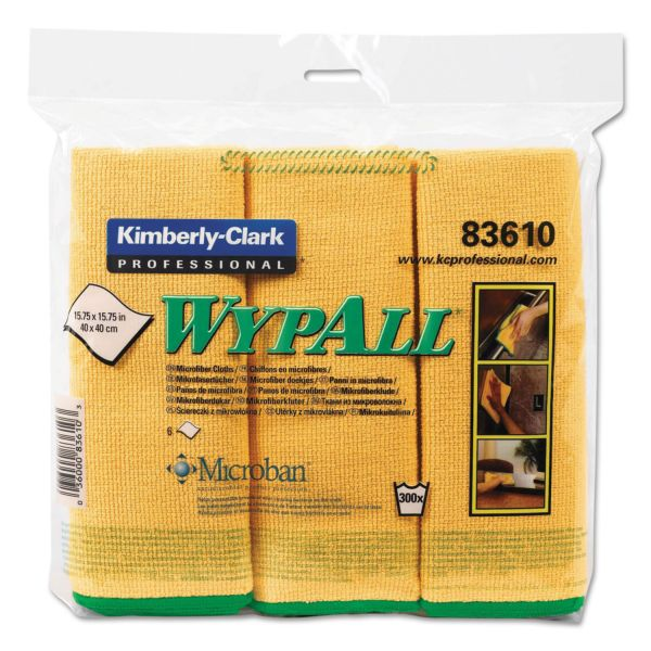 WypAll* Microfiber Cloths, Reusable, 15 3/4 x 15 3/4, Yellow, 6/Pack