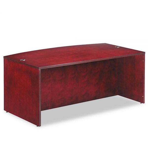 Alera Verona Veneer Series Bow Front Desk Shell,71w x 41-1/2d x 29-1/2h,Mahogany