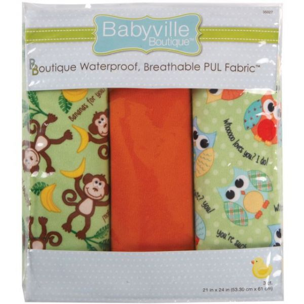 "Babyville PUL Waterproof Diaper Fabric 21""X24"" Cuts 3/Pkg"