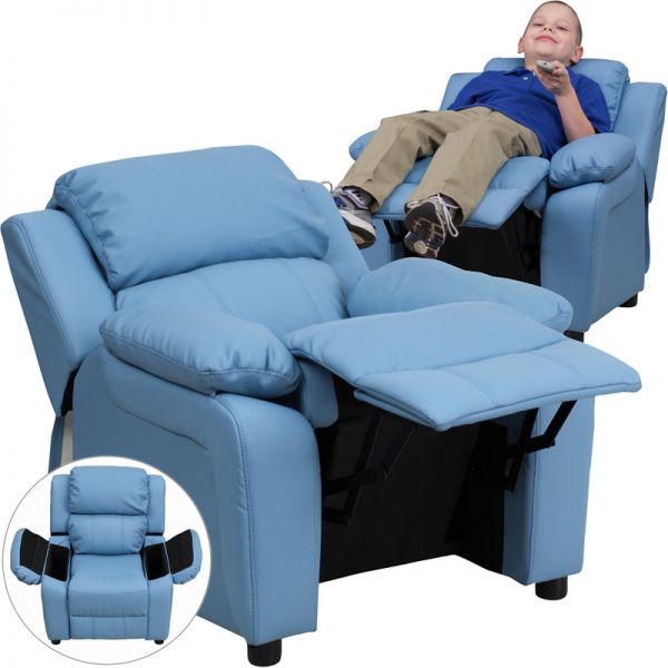 Flash Furniture Deluxe Padded Contemporary Light Blue Vinyl Kids Recliner with Storage Arms