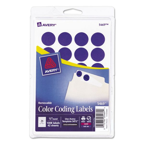 "Avery Printable Removable Color-Coding Labels, 3/4"" dia, Dark Blue, 1008/Pack"