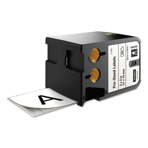 """DYMO XTL Pre-Sized Labels, 2"""" x 3"""", White/Black Print, 100/Cartridge"""