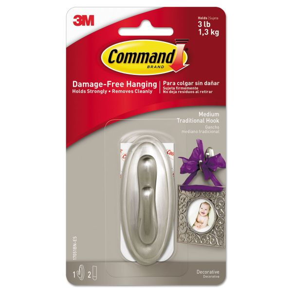 Command Decorative Hooks, Traditional, Medium, 1 Hook & 2 Strips/Pack