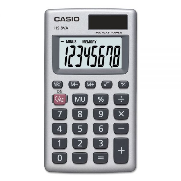 Casio HS-8VA Handheld Calculator, 8-Digit LCD, Silver