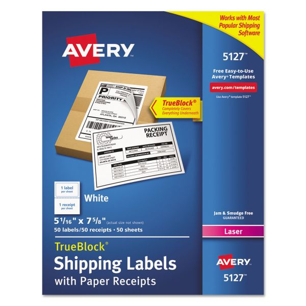 Avery 5127 Shipping Labels with Paper Receipts