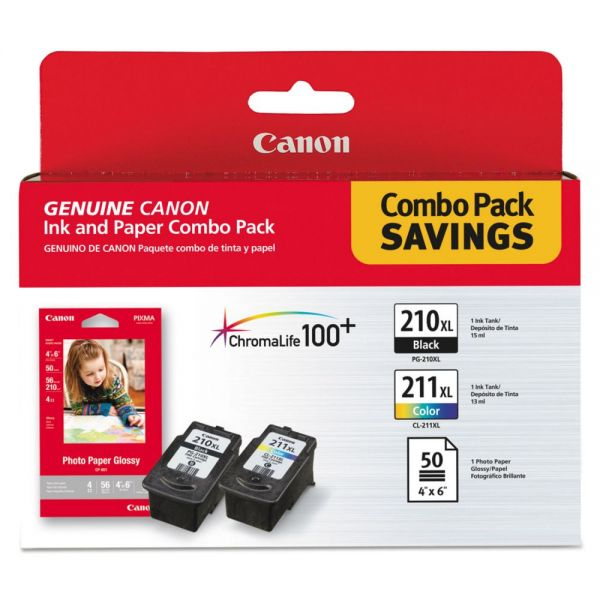 Canon PG-210XL Black/CL-211XL Color Ink Cartridges & Paper Combo Pack