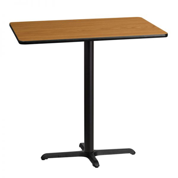 Flash Furniture 30'' x 42'' Rectangular Natural Laminate Table Top with 22'' x 30'' Bar Height Table Base