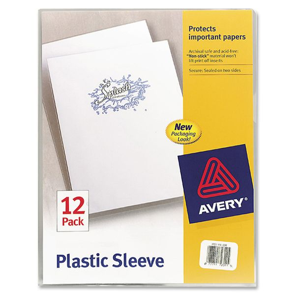 Avery Clear Plastic Sleeves, Polypropylene, Letter, 12/Pack