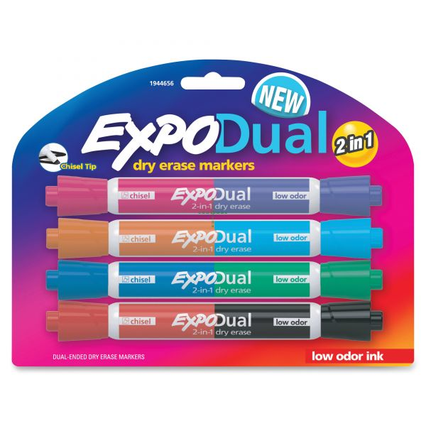 EXPO 2-in-1 Dry Erase Markers, 8 Assorted Colors, Medium, 4/Pack