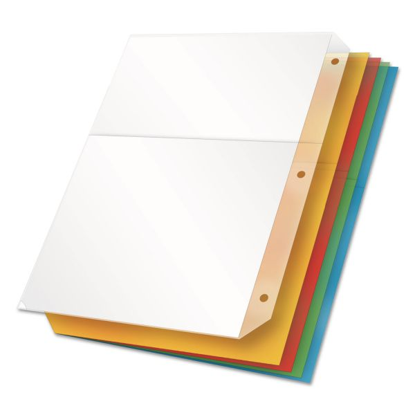 Cardinal Poly Ring Binder Pockets, 11 x 8 1/2, Assorted Colors, 5/Pack