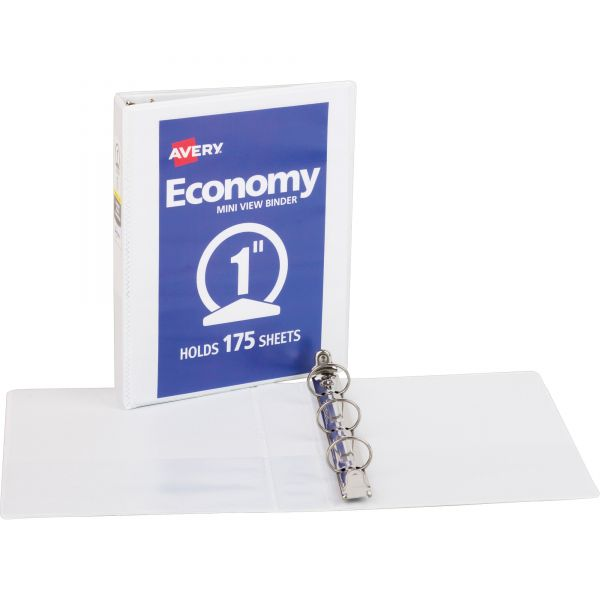 "Avery Economy Mini View Binder w/Round Rings, 8 1/2 x 5 1/2, 1"" Cap, White"