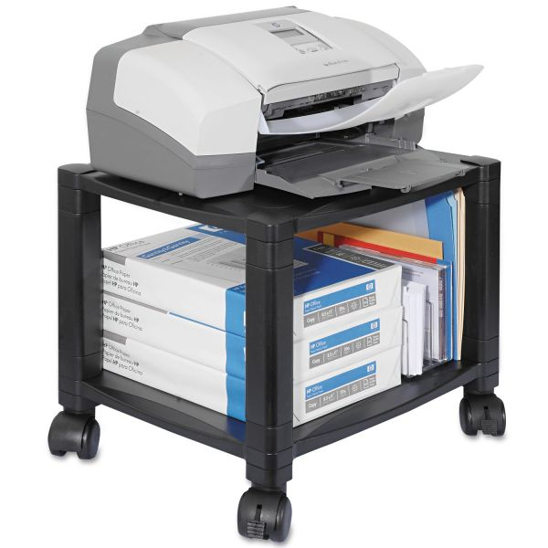Kantek Two-Shelf Mobile Printer Stand, 17 x 13-1/4 x 14-1/8, Black