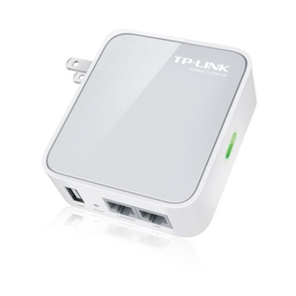 TP-LINK TL-WR710N 150Mbps Wireless N Mini Pocket Portable Router, Repeater, Client, 2 LAN Ports, USB Port for Charging and Storage