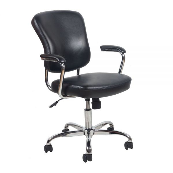Essentials by OFM Swivel Leather Office Chair with Padded Arms
