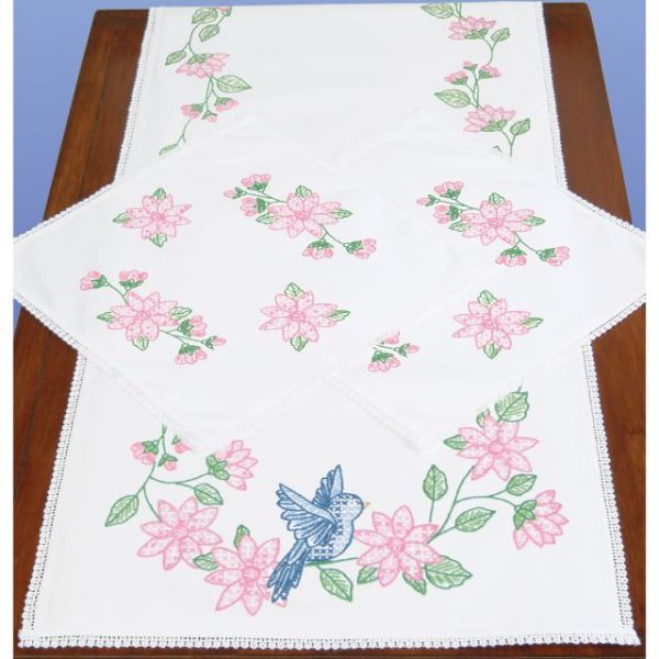 Jack Dempsey Stamped Dresser Scarf & Doilies Lace Edge