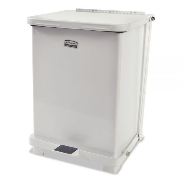 Rubbermaid Commercial Defenders Biohazard Step Can, Square, Steel, 7 gal, White