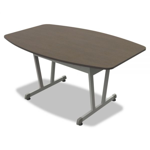 Linea Italia Trento Line Conference Table, 59-1/8w x 39-1/2d x 29-1/2h, Mocha/Metallic Gray
