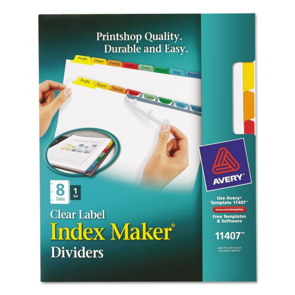 Avery Index Maker Print & Apply Clear Label Dividers, 8-Tab, Multi-color Tab, Letter, 1 Set