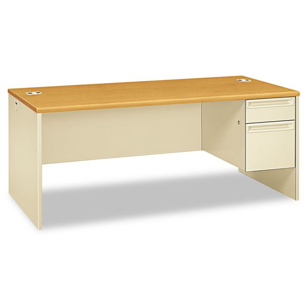 HON 38000 Series Right Pedestal Desk, 72w x 36d x 29-1/2h, Harvest/Putty