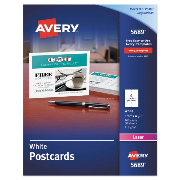 Avery Postcards for Laser Printers, 4 1/4 x 5 1/2, Uncoated White, 4/Sheet, 200/Box