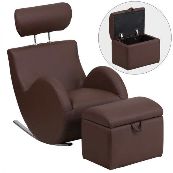 Flash Furniture HERCULES Series Brown Vinyl Rocking Chair with Storage Ottoman
