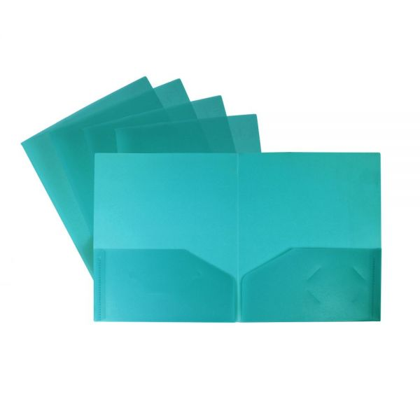Storex Thicker Poly Blue Two Pocket Folders