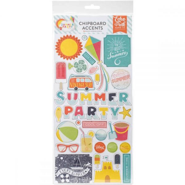 "Summer Party Chipboard Accents 6""X13"""