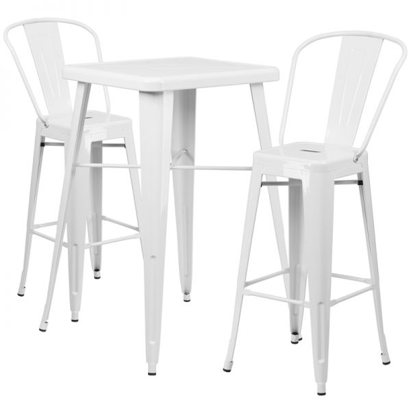 Flash Furniture 23.75'' Square White Metal Indoor-Outdoor Bar Table Set with 2 Barstools with Backs