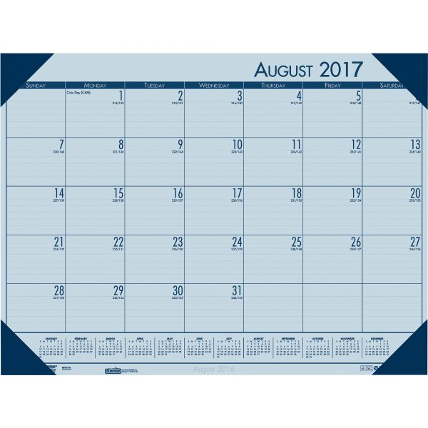 House of Doolittle EcoTones Academic Desk Pad Calendar, 18-1/2w x 13d, Blue Corners