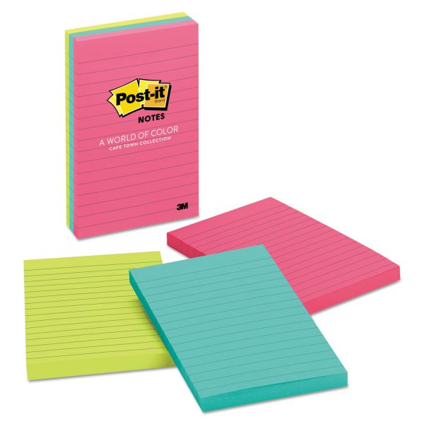 Post-it Notes Original Pads in Cape Town Colors, Lined, 4 x 6, 100-Sheet, 3/Pack